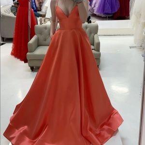 Sheri Hill iridescent Orange Prom Dress